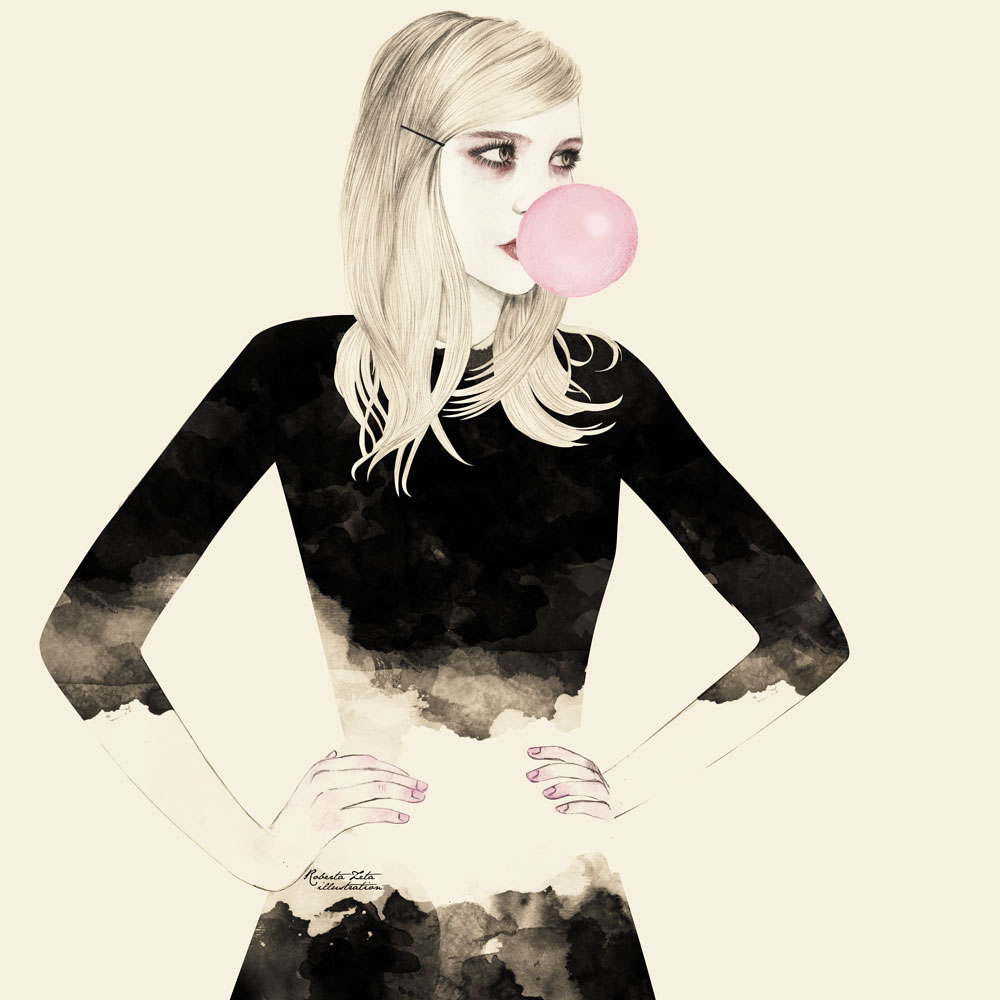 Girl blowing a bubble with a bubblegum