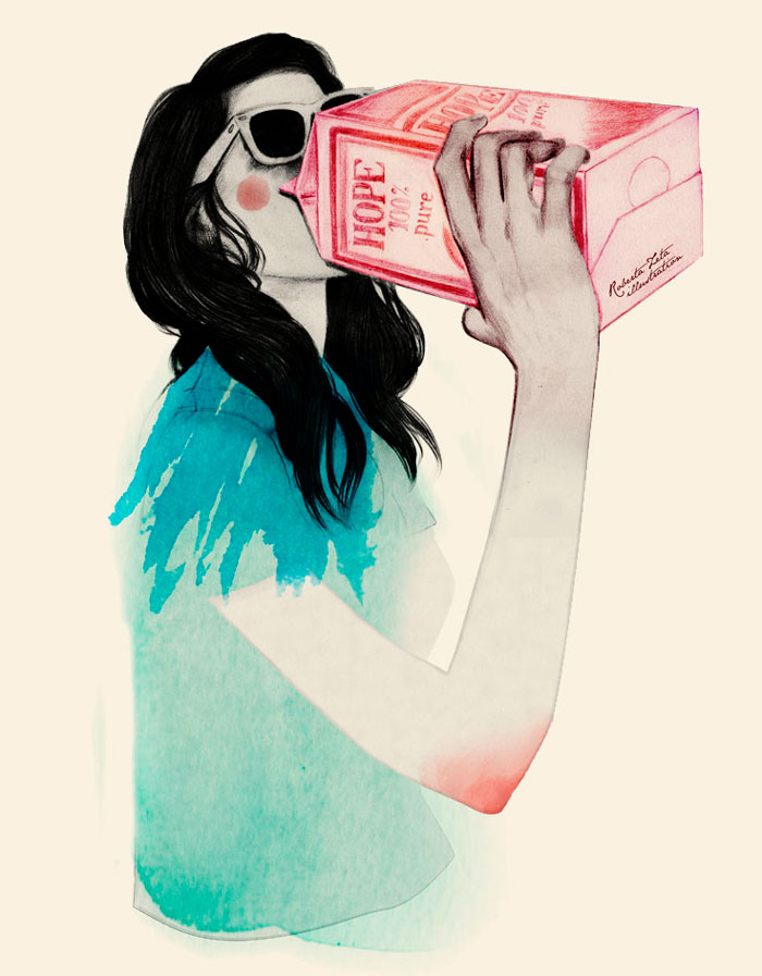 A girl drinking from a carton of Hope