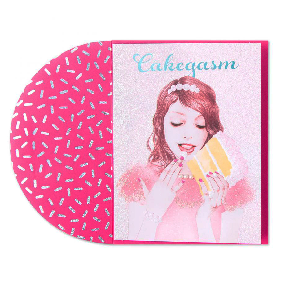 """Papyrus """"Cakegasm"""" greeting card of a girl eating a big slice of cake with her hands"""
