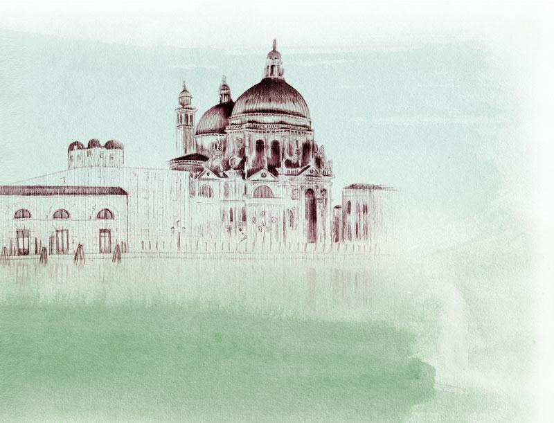Foggy watercolored view of Santa Maria Della Salute church in Venice, Italy