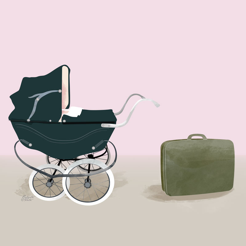 Illustration of a pram and a luggage