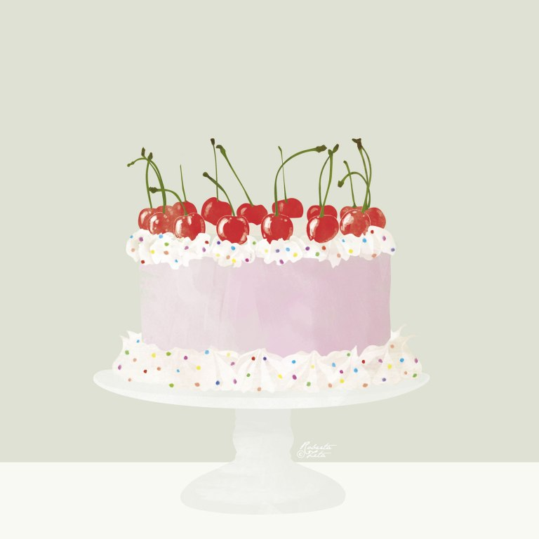 Cake illustration with cream and cherries