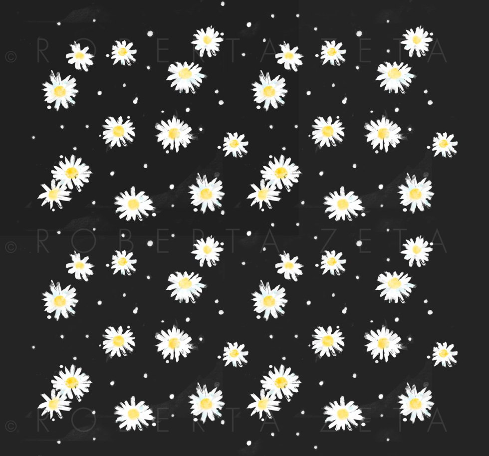 Pattern of daisies on a black background