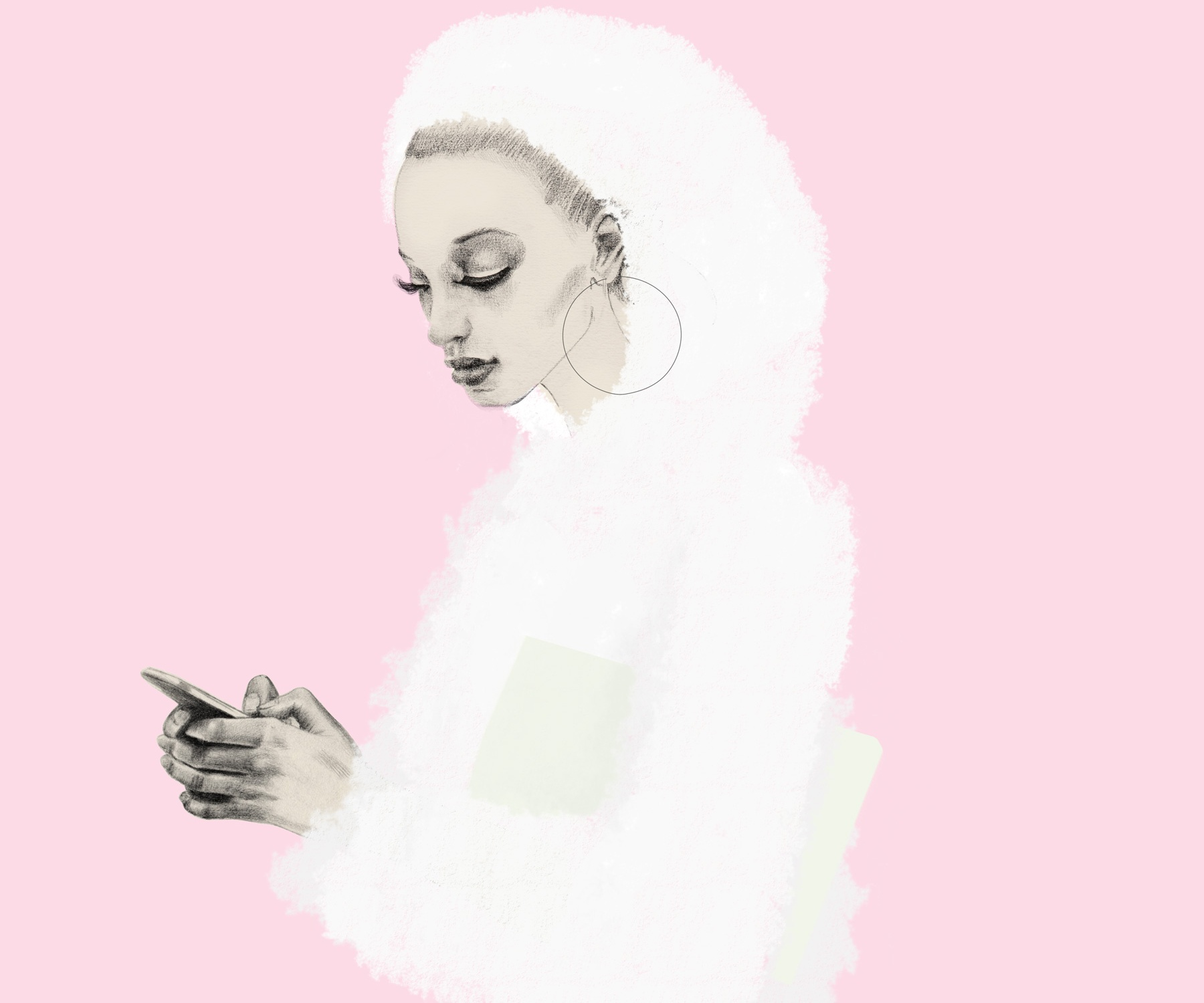 Girl looking to her smartphone