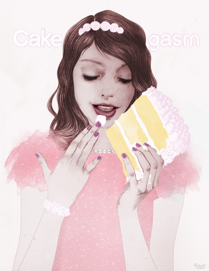 """Cakegasm"" greeting card Illustration & Lettering for Papyrus"