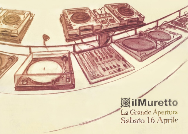 "drawing of a mixing consolle for ""Il Muretto"" opening night"