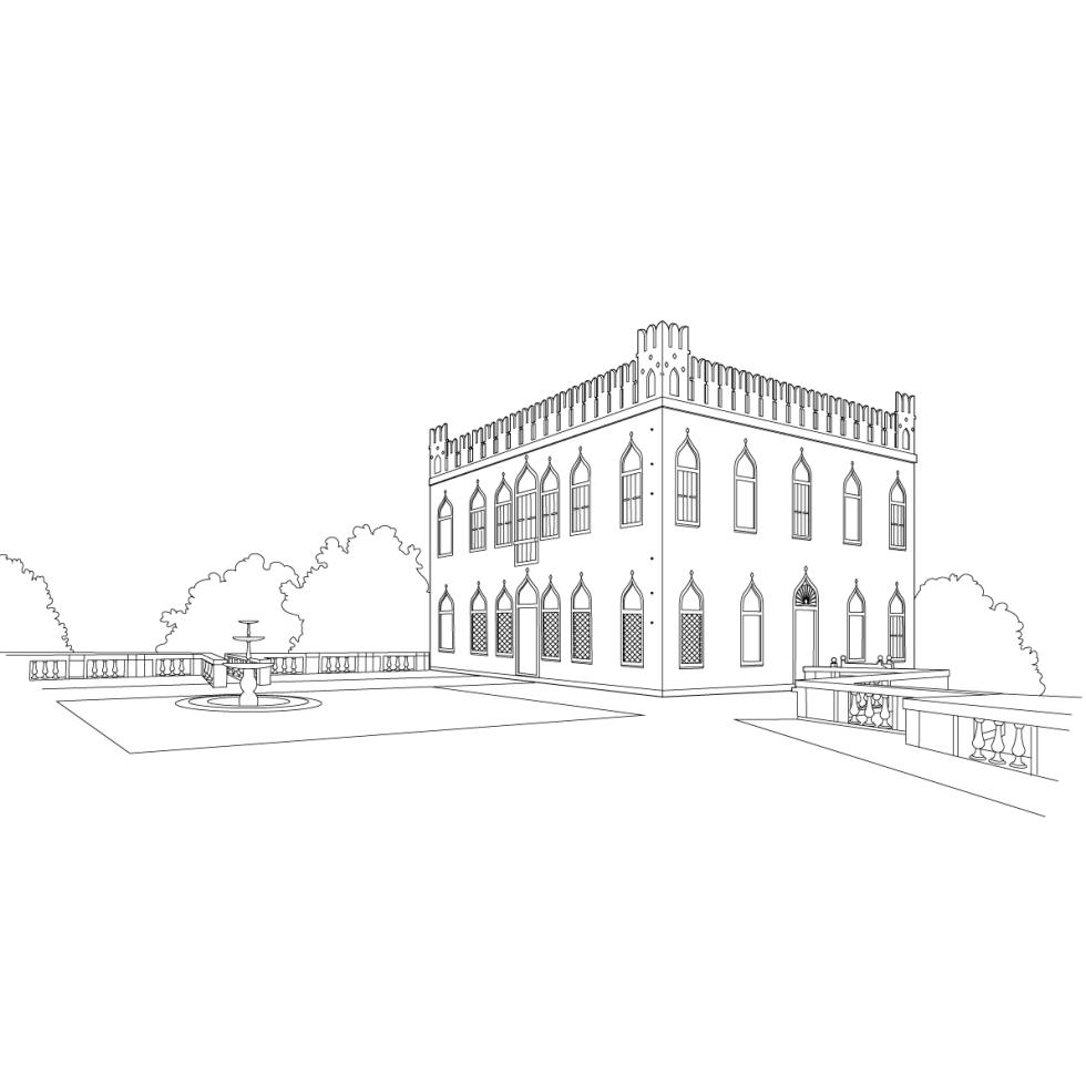 Villa Draghi vector illustration