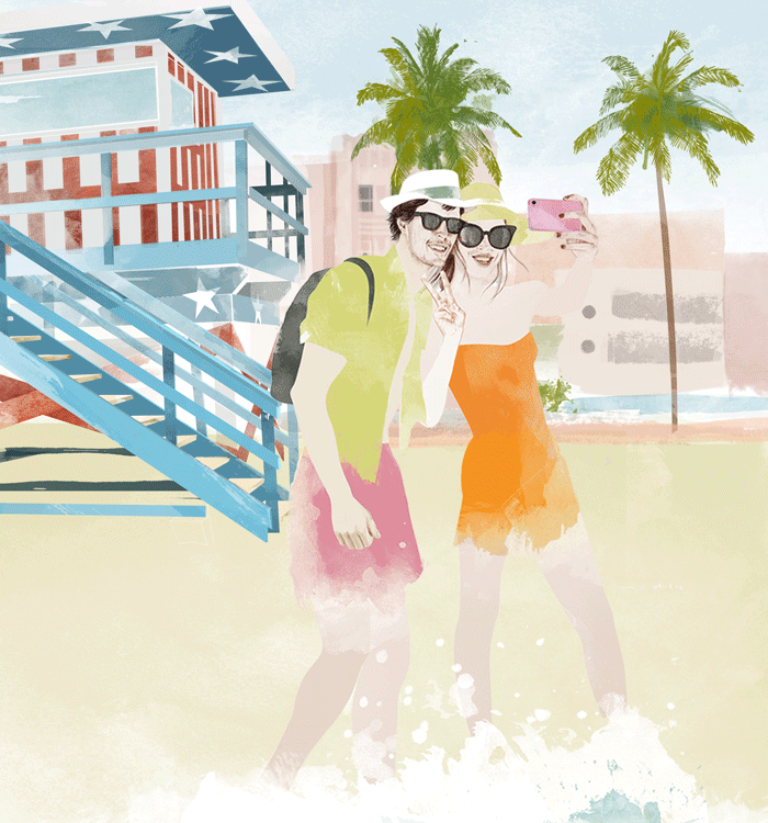 "Illustration for Mandarina Duck fragrance ""Let's Travel"" ."