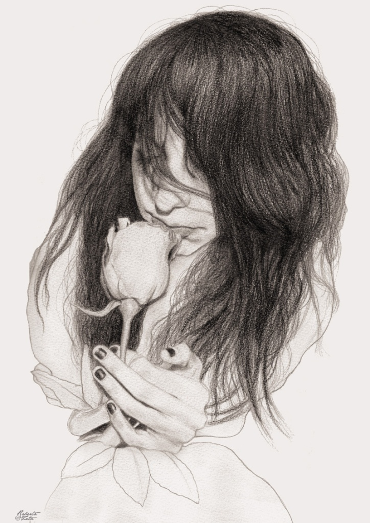 Illustration of a girl with a rose on her hands.